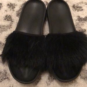 Authentic UGG fur slides